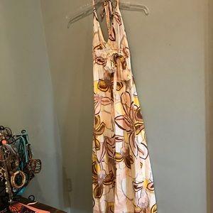 Dresses - Cream Flower Halter Maxi Dress